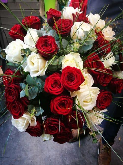 Bouquet de roses d'exception rouge et blanc